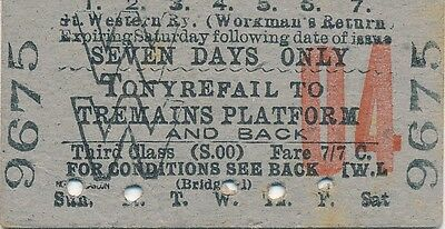 GWR - TONYREFAIL to TREMAINS PLATFORM railway ticket 9675 (South Wales Stations)