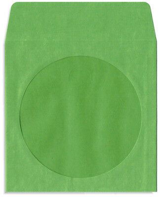 200-Pak =GREEN= Colored Paper CD/DVD Sleeves with Window & Flap