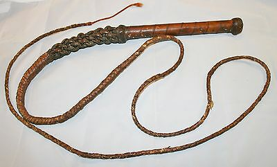 Antique Leather Bull Whip / Fox Hunting Huntsman Whip