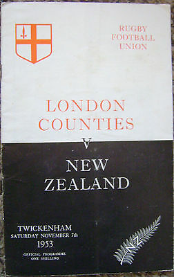LONDON COUNTIES v NEW ZEALAND RUGBY PROGRAMME, 1953, VGC.
