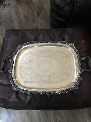 Vintage  Footed Silverplate Serving Tray - Free Ship!