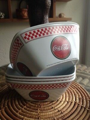 """Lot (4) """"ICE COLD COCA COLA SOLD HERE"""" byGibson Design Square Soup/Cereal Bowl"""