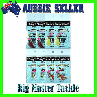 Circle Hook Whiting Double Paternoster Hairy Back Rigs 8-Pack  Mixed Colours