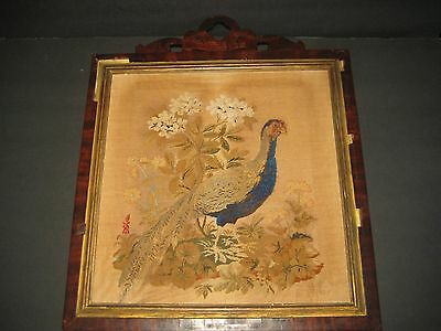 c1800 PETIT POINT NEEDLEWORK OF A PHEASANT ON STRETCHER IN MAHOGANY PERIOD FRAME