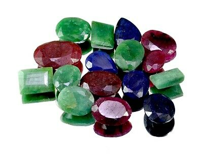 150ct /16pcs Natural Emerald Ruby Sapphire Ring Size Gemstone Wholesale Lot