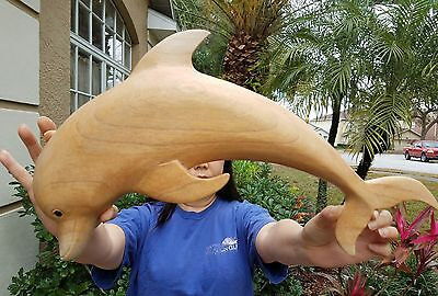 """Handchiseled  16"""" Long Natural Wood Swimming Dolphin Wall Art Decor With Hanger!"""