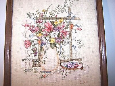 Completed Finished Paula Vaughan  Flowers Cross Stitch Picture