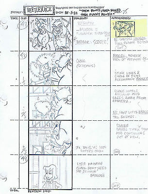 Beetlejuice The Series Animation Production Pencil Storyboard pg. 125 #A17060