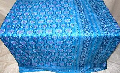 Blue Pure Silk 4 yard Vintage Sari Saree HOT BARGAIN DEAL Designer Israel #12GA9