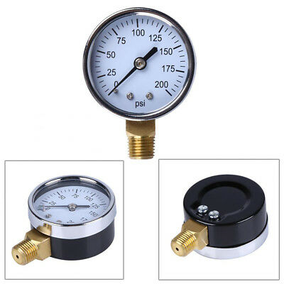 "2""Face Air Oil Water Pressure Gauge 1/4"" NPT 0-200 PSI side mount Manometer"