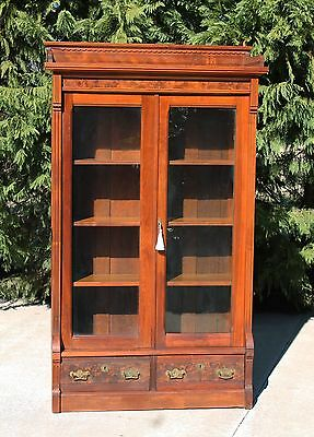 Victorian Walnut & Burl Bookcase with Orig. Glass Carved Gallery & Key c1880's