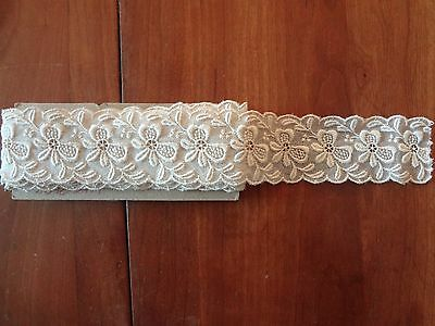 "Vintage antique off white embroidered organdy lace floral trim 1.5 "" wide 1.5 YD"