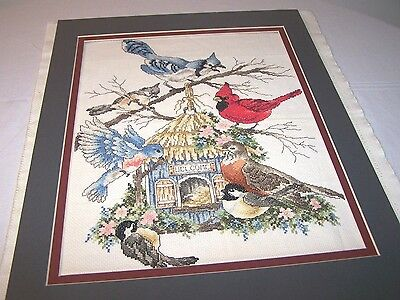 Completed Finished Cross Stitch Spring Birds At The Birdfeeder Large Picture