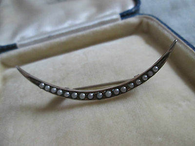 Antique Victorian Art Nouveau Crescent Moon Seed Pearl Sterling Brooch Pin