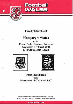 Press Squad Information - Hungary v Wales 31.03.2005 Friendly International