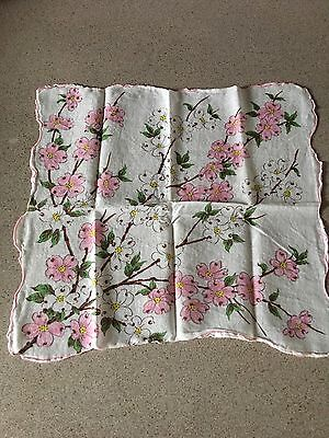 Vintage White Handkerchief w/ Mint Green Carnation Floral Embroidery Hanky