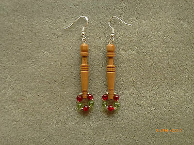 Lacemaking Lace Bobbins Cherry Earrings