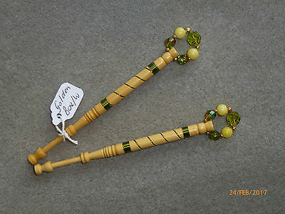 LACEMAKING LACE BOBBINS PAIR GOLDEN BOXWOOD - wired in olive.