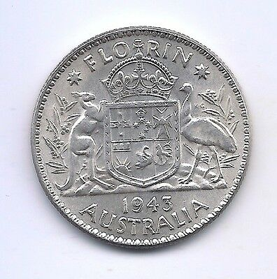 1943 Australia Silver Florin--Very Strong Details !!