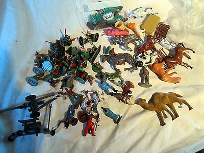 Some Old Toy Soldiers And Animals Etc