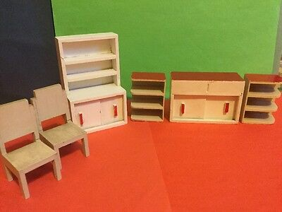 Vintage Dolls House Early Barton Red & White Kitchen