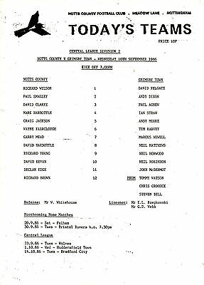 Teamsheet - Notts County Reserves v Grimsby Town Reserves 1986/7