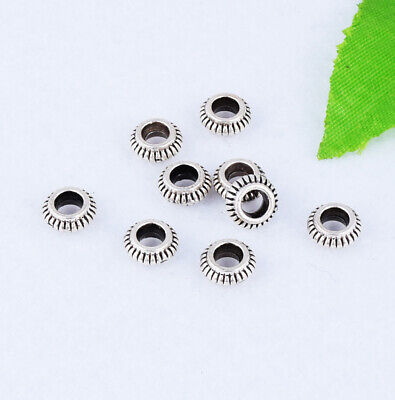 Tibetan Silver Round Ring Spacer Charm Beads Jewelry Finding 7x3mm