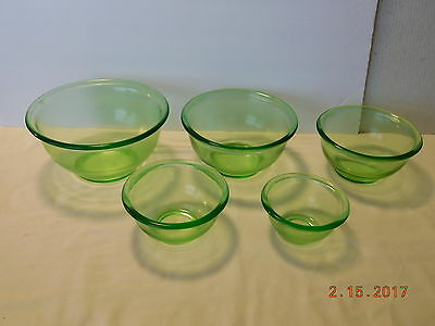 Vtg Anchor Hocking Green Glass Depression 5 Pc Graduated Mixing Bowls Early Mark