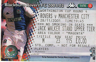 Ticket - Blackburn Rovers v Manchester City 28.11.01 League Cup