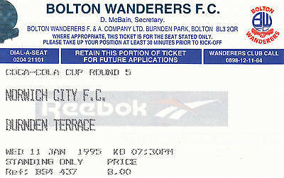 Ticket - Bolton Wanderers v Norwich City 11.01.95 League Cup