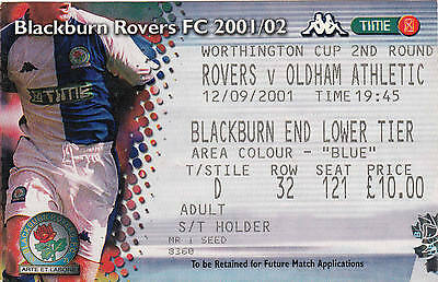 Ticket - Blackburn Rovers v Oldham Athletic 12.09.01 League Cup