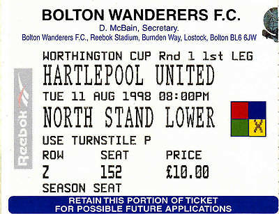 Ticket - Bolton Wanderers v Hartlepool United 11.08.98 League Cup