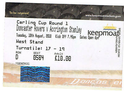 Ticket - Doncaster Rovers v Accrington Stanley 10.08.10