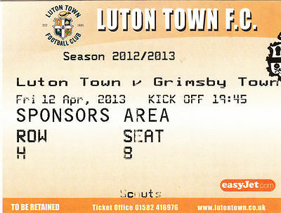 Ticket - Luton Town v Grimsby Town 12.04.13