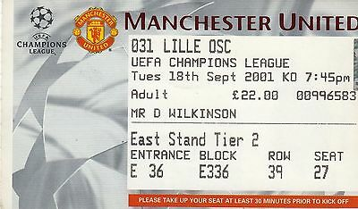 Ticket - Manchester United v Lille 18.09.01 UEFA Champions League