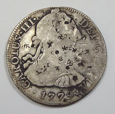 1779-MO MEXICO Carolus III 8 Reales Silver Coin VERY GOOD+ with Chopmarks