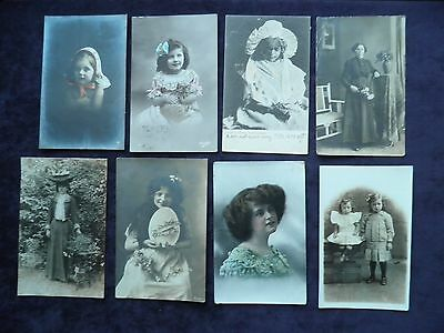 Assorted Lot Of 8 Old Postcards Of People, Children, Boy, Girl, Women