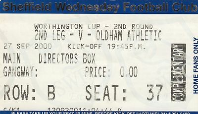 Ticket - Sheffield Wednesday v Oldham Athletic 27.09.00 League Cup