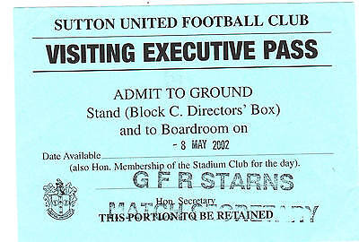 Ticket - Sutton United v Middlesex Wanderers 08.05.02