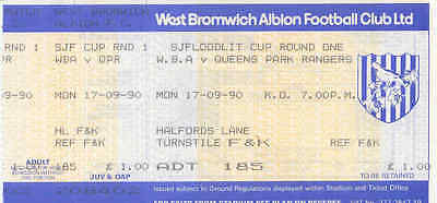 Ticket - West Bromwich Albion v Queens Park Rangers 17.09.90 Southern Junior Cup