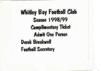 Ticket - Whitley Bay Complimentary 1998/9 - No match details
