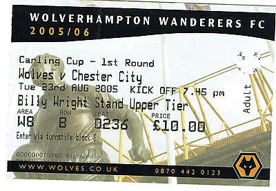 Ticket - Wolverhampton Wanderers v Chester 23.08.05 League Cup