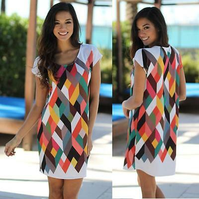 Women Round Neck Short Sleeve Printing Bodycon Party Cocktail Evening Mini Dress