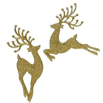 2 New Raz Gold Glitter Leaping Reindeer Deer Tree Ornament Christmas Xmas