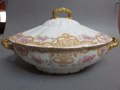 D & C Delinieres Limoges France  large oval covered tureen brown scroll flowers