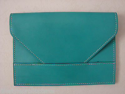 "NEW RAIKA 4""x 6"" TURQUOISE LEATHER PHOTO ENVELOPE HOLDER CASE PICTURE NA 109"