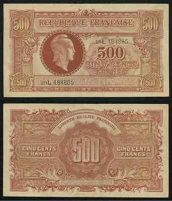 WWII Issue Tresor Central 1944 France 500 Francs Banknote Pick Number 106 VF+