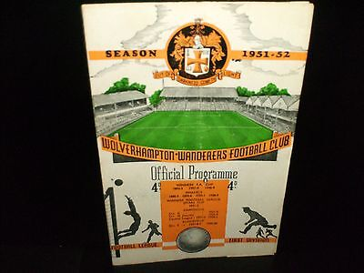 1951/1952  Wolverhampton Wanderers V. Manchester  City  Reserves  Central League