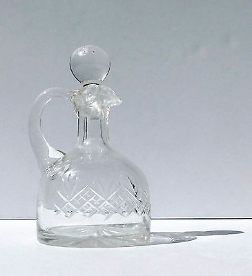 Vintage Clear Crystal Decanter ~ Fan Over Strawberry Diamonds ~ Original Stopper