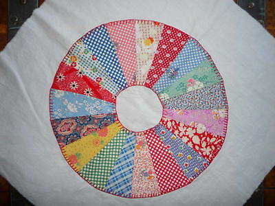 Antique Vintage DRESDEN PLATE Quilt Block  c.1930's-Hand Appliqued-Crisp & Clean